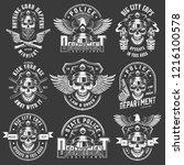 vintage policeman logos... | Shutterstock .eps vector #1216100578