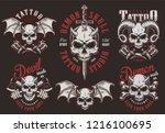 vintage demon tattoo studio... | Shutterstock .eps vector #1216100695