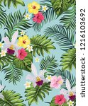 tropical vector seamless... | Shutterstock .eps vector #1216103692