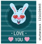 hare on valentines day | Shutterstock .eps vector #1216104445