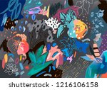 floral background. trendy... | Shutterstock .eps vector #1216106158