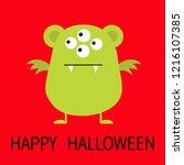 happy halloween. cute green... | Shutterstock . vector #1216107385