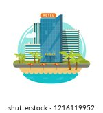hotel isolated near sea or... | Shutterstock .eps vector #1216119952