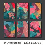 collection of six christmas... | Shutterstock .eps vector #1216122718