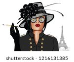 woman with sunglasses and hat   ... | Shutterstock .eps vector #1216131385