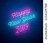 retro_new year 2019 neon sign.... | Shutterstock .eps vector #1216139788