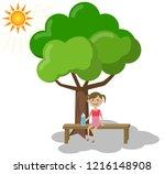 illustration of a girl taking a ...   Shutterstock .eps vector #1216148908