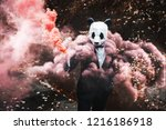 man in animal panda mask with... | Shutterstock . vector #1216186918