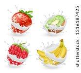 set of juicy summer fruits and ... | Shutterstock . vector #1216187425