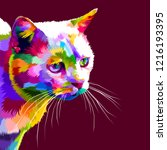 colorful cute cat close up on...   Shutterstock .eps vector #1216193395