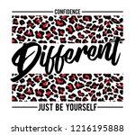 fashion slogan print. animal... | Shutterstock .eps vector #1216195888
