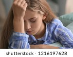 lonely woman suffering from...   Shutterstock . vector #1216197628