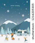 friends on a camp   cartoon... | Shutterstock .eps vector #1216205305