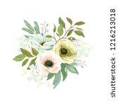 bouquet with flowers anemones ...   Shutterstock .eps vector #1216213018