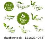 vegan design label set | Shutterstock .eps vector #1216214095