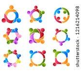 community set  support sign ... | Shutterstock .eps vector #1216214098