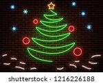 neon happy new year light.... | Shutterstock .eps vector #1216226188