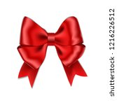 red bow with ribbon isolated on ... | Shutterstock .eps vector #1216226512