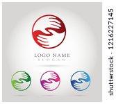 hand help care   teamwork logo. ... | Shutterstock .eps vector #1216227145