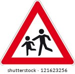 traffic sign playing children | Shutterstock .eps vector #121623256