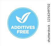 additives free. blue and white... | Shutterstock .eps vector #1216249702