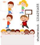 cartoon children holding blank...   Shutterstock .eps vector #1216251655