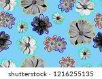 colorful summer flowers design   Shutterstock . vector #1216255135
