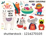 big set with cute animals doing ... | Shutterstock .eps vector #1216270105