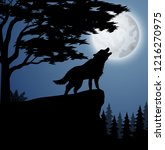silhouette wolf in hill at night | Shutterstock . vector #1216270975