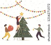 holiday card. men and women... | Shutterstock .eps vector #1216271572