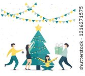 holiday card. men and women... | Shutterstock .eps vector #1216271575