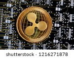 xrp or ripple gold coin... | Shutterstock . vector #1216271878