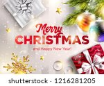 merry christmas vector greeting ... | Shutterstock .eps vector #1216281205