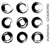 grunge paint circle vector...   Shutterstock .eps vector #1216281982