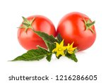 ripe tomatoes isolated on white ... | Shutterstock . vector #1216286605