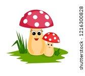 cartoon mushrooms illustration | Shutterstock .eps vector #1216300828