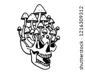 skull tattoo with mushrooms.... | Shutterstock .eps vector #1216309312