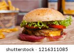 home made hamburger with... | Shutterstock . vector #1216311085