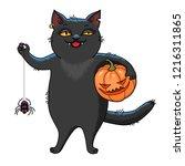black cat holding pumpkin and... | Shutterstock .eps vector #1216311865
