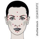 beautiful european woman face... | Shutterstock .eps vector #1216315372