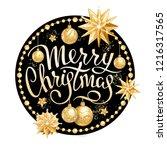 inscription merry christmas in...   Shutterstock .eps vector #1216317565