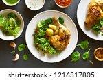 fried chicken leg with potato... | Shutterstock . vector #1216317805