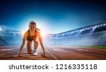 female athlete ready to run.... | Shutterstock . vector #1216335118