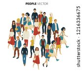 people crowd vevtor. cartoon... | Shutterstock .eps vector #1216336675