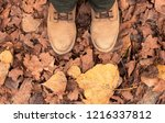 leather boots on the fallen... | Shutterstock . vector #1216337812