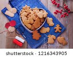 homemade christmas gingerbreads ...   Shutterstock . vector #1216343905