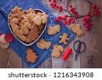 homemade christmas gingerbreads ...   Shutterstock . vector #1216343908