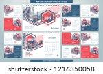 desk calendar 2019 template  ... | Shutterstock .eps vector #1216350058