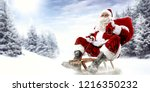 old red santa claus and winter... | Shutterstock . vector #1216350232