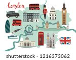 london illustrated map vector.... | Shutterstock .eps vector #1216373062